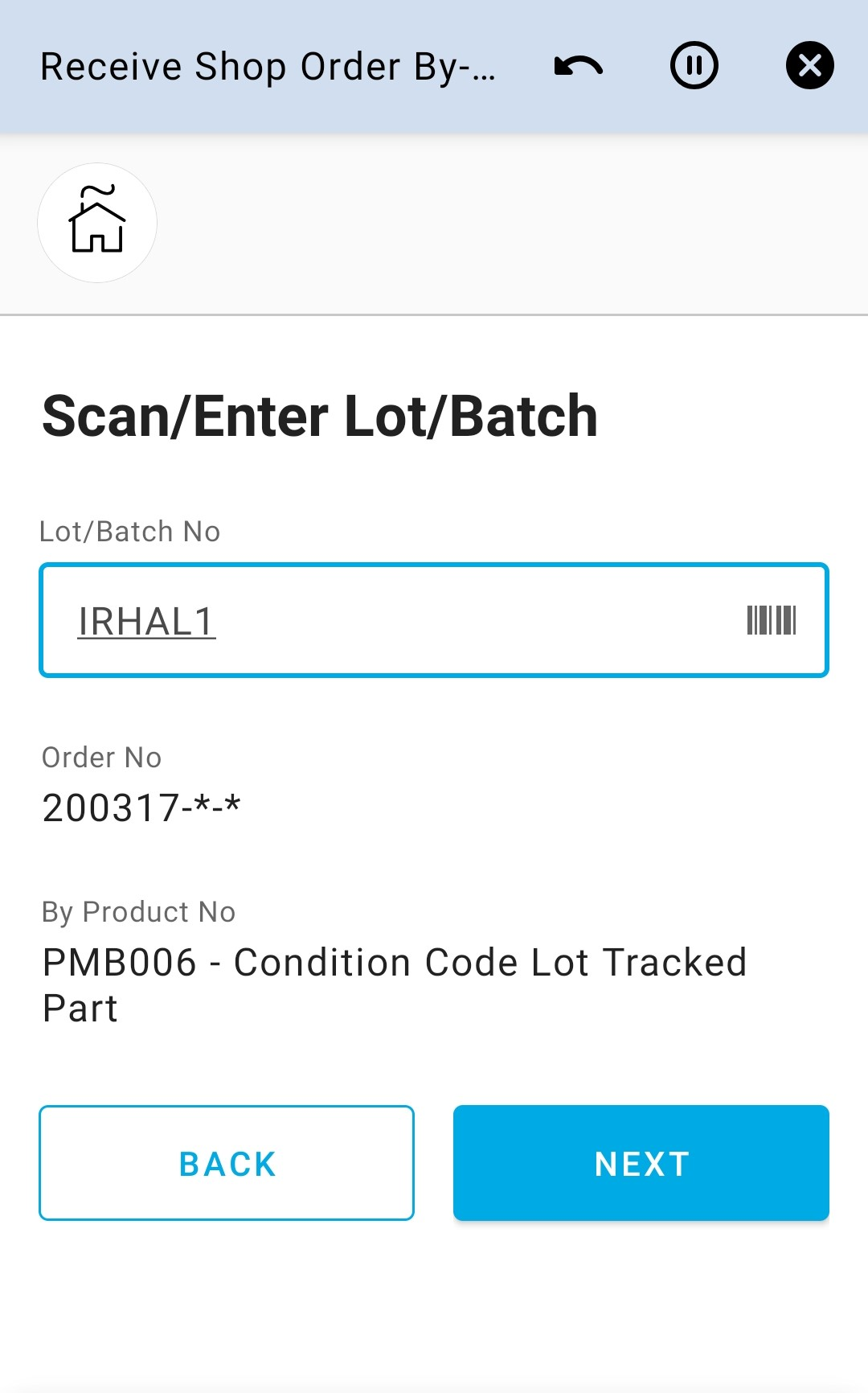 Enter Lot Batch